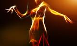 Oriental belly dancer in light fractal