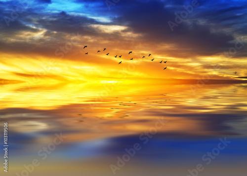 Obraz amanecer de colores sobre el mar en calma