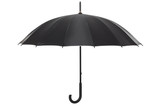 Open black umbrella isolated on white, clipping path included