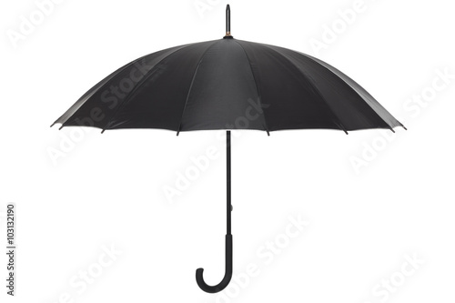 Juliste Open black umbrella isolated on white, clipping path included