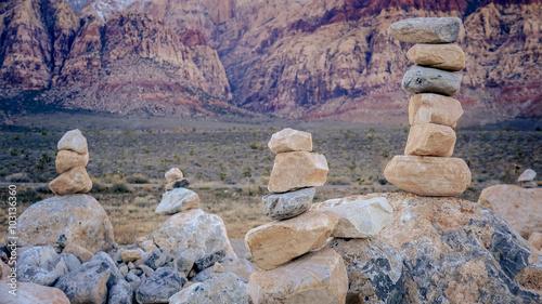 Aluminium Las Vegas Stacked Rocks in Red Rock Canyon Near Las Vegas