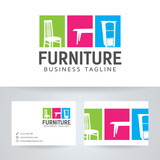 Furniture vector logo with business card template - 103149387