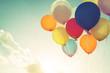 Vintage multicolor balloons of birthday party. Instagram retro filter effect