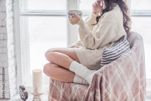 Foto op Plexiglas Chocolade relaxing women