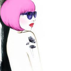 woman with glasses. watercolor illustration © Anna Ismagilova