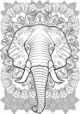 Adult Coloring book – illustration. Tattoo set: Elephant. Vector illustration.