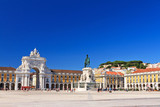 Beautiful image of the gate and statue of  King Jose on the Commerce square (Praca do Comercio) in Lisbon, Portugal