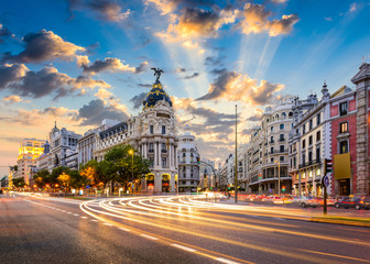 Madrid, Spain cityscape at Calle de Alcala and Gran Via. © SeanPavonePhoto