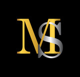 MS initial letter with gold and silver