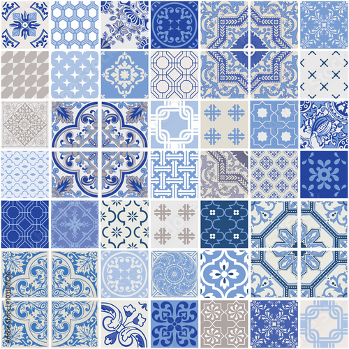 obraz PCV Indigo Seamless Patchwork Pattern - Monochrome Tiles Set