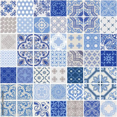 fototapeta na ścianę Indigo Seamless Patchwork Pattern - Monochrome Tiles Set