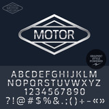 Fototapety Silver logo for motorbike and car shop. Vector set of letters, numbers and symbols.