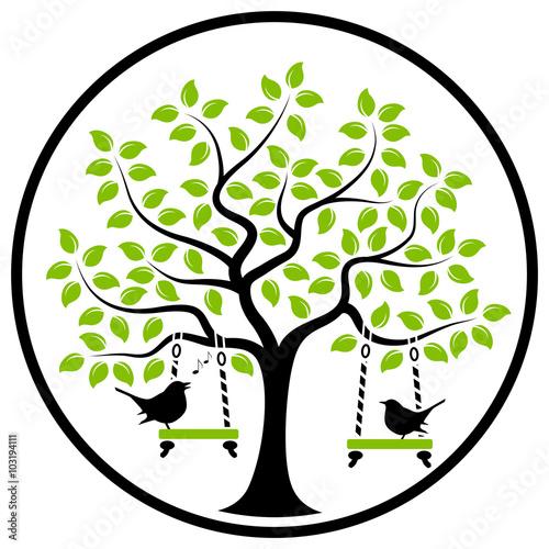 Naklejka tree with birds
