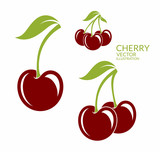 Fototapety Cherry. Isolated berries on white background
