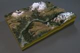 Vista satellitare di Canazei, montagne, dolomiti