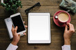 Постер, плакат: Tablet and smartphone on entrepreneur desk at home
