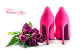 Fototapety Womens day, pink high heel shoes and tulips isolated on white