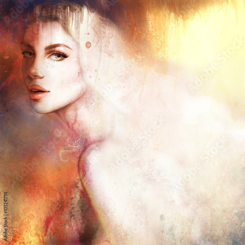 Beautiful woman portrait. Hand painted fashion illustration - 103241714