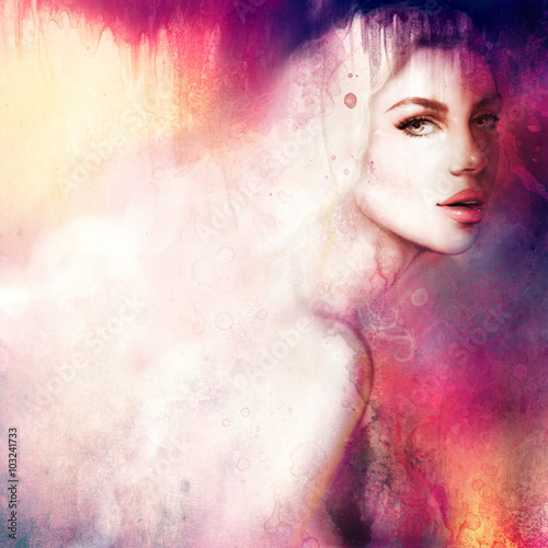Beautiful woman portrait. Hand painted fashion illustration - 103241733