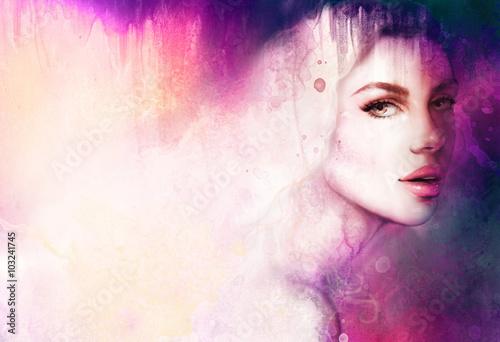 piekna-kobieta-portret-recznie-malowane-moda-chora