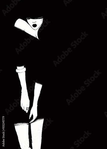 women with elegant hat .fashion illustration - 103241779