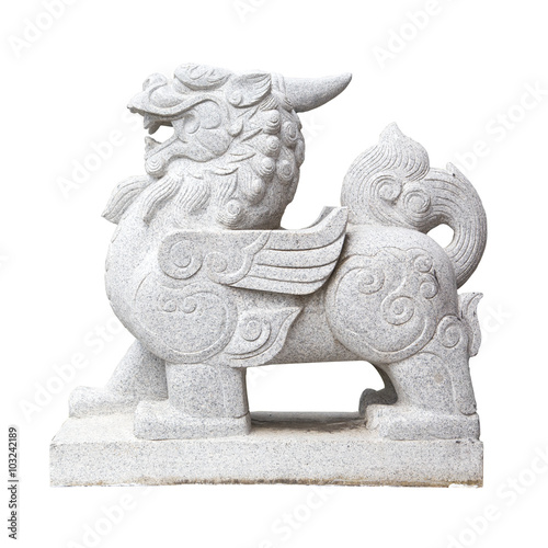 statue china lion isolated on white guardian front of place Poster