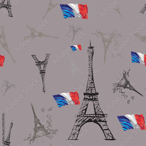 seamless texture tour Eiffel romantic vector illustration heart