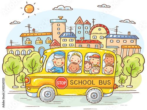 Naklejka School bus with happy kids in the city