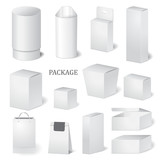 set of cardboard package isolated box. mock up, template. stock