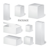 set of cardboard package isolated box. mock up, template. stock - 103265917