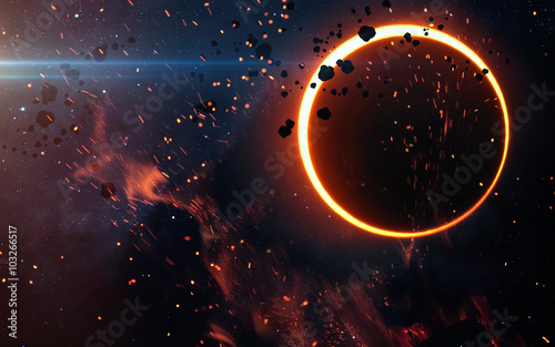 Deurstickers Heelal Solar Eclipse Above a Nebula. Elements of this image furnished by NASA