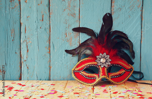 obraz lub plakat colorful Venetian masquerade mask. selective focus. vintage filtered