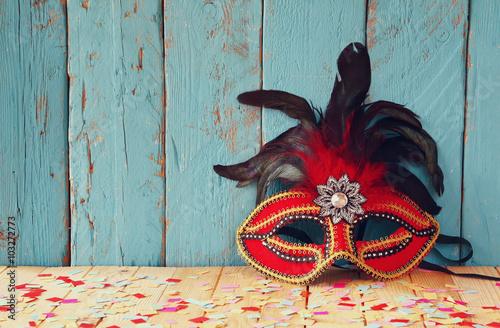 fototapeta na ścianę colorful Venetian masquerade mask. selective focus. vintage filtered