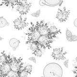 Grey Flowers, Butterflies and Bicycles Seamless Pattern