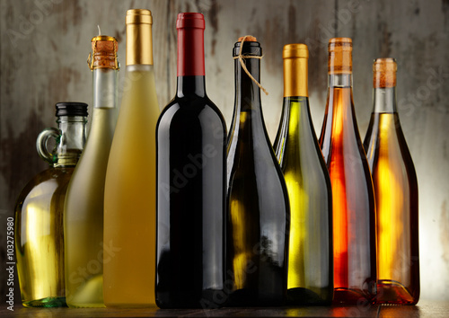 Fototapeta Composition with assorted bottles of wine