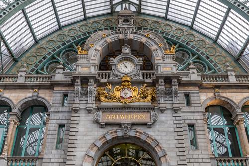 Aluminium Antwerpen Main hall with clock of art deco station of Antwerp, Belgium