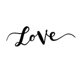 Inscription love, hand-drawn labels for greeting cards,