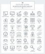 SEO and Marketing Icons. Set of modern outline Icons of seo services, internet marketing, responsive design, cloud computing, data protection.