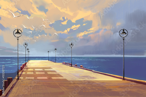 Plakat bridge to the sea against beautiful sky,illustration painting