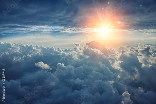 Beautiful blue sky background with clouds - 103287945
