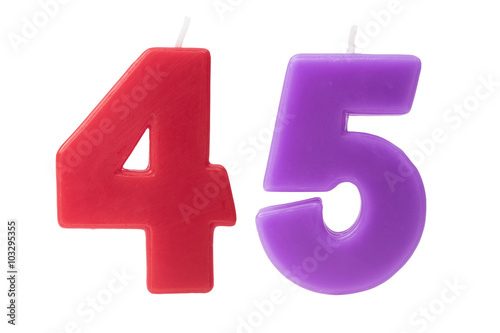45th birthday candles isolated Poster