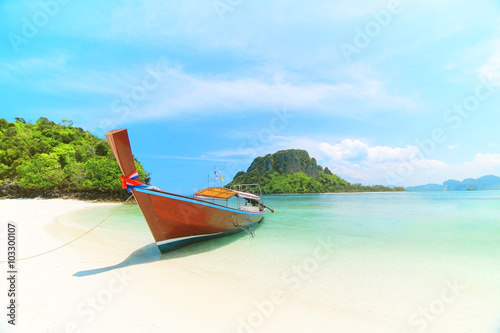 Poster Longtail boat at famous sunny Long Beach, Krabi Thailand, Andama