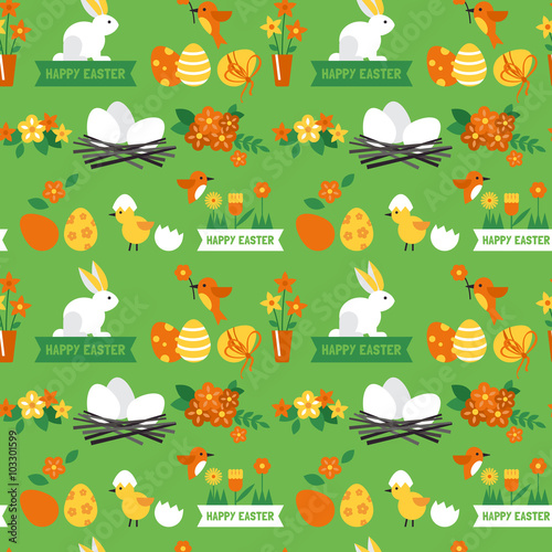 Materiał do szycia Easter holiday background seamless pattern with easter bunny and