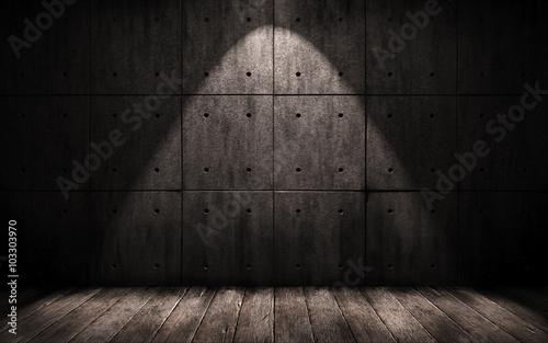 Staande foto Industrial geb. grunge industrial background, a dark underground room with walls of concrete and wooden floor