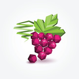 Polygon bunch of grapes, vector illustration.