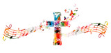 Fototapety Colorful cross with music notes