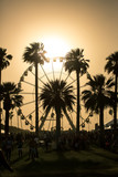 Ferris Wheel Sunset. Ferris wheel in Coachella California caught in a sand storm at sunset.