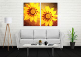 Fototapety Flower art canvas in three parts. Sofa, lamp, plant and table in room interior.