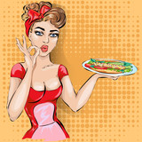 Fototapety Pin-up waitress with tray in bistro cafe