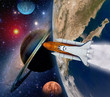 Shuttle rocket ship launch solar system galaxy saturn planet moon space. Elements of this image furnished by NASA.